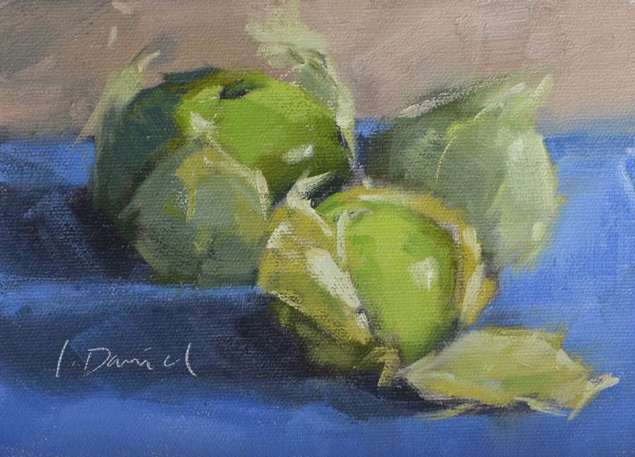 """Tomatillos Three - Fourteen of 30 in 30"" original fine art by Laurel Daniel"