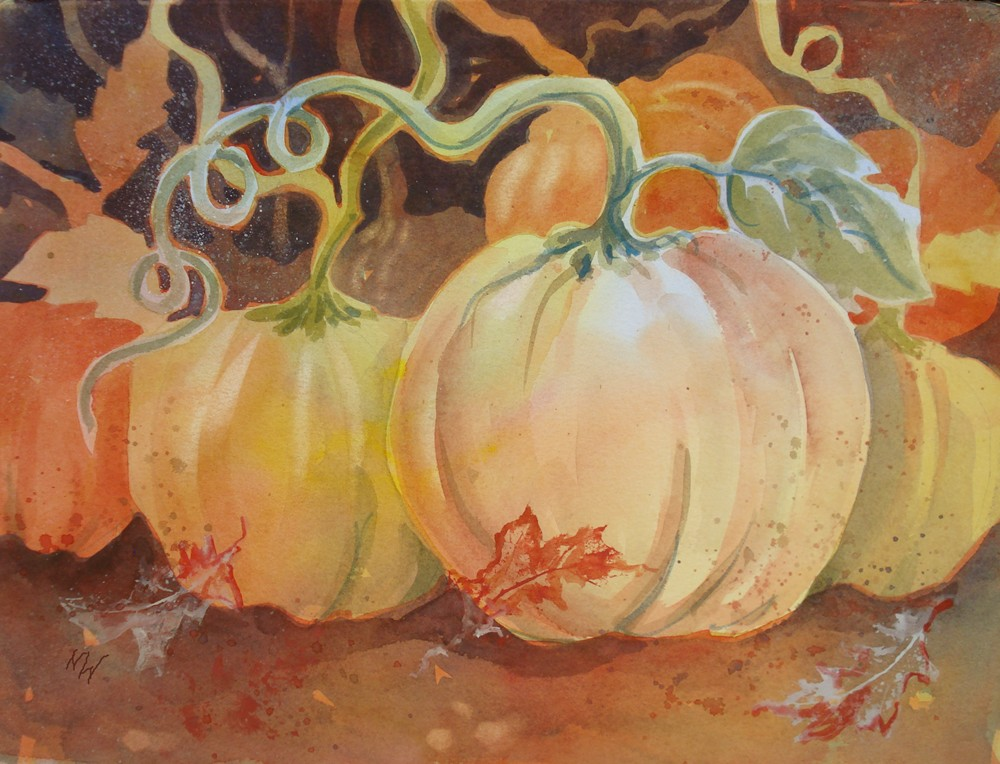 """Pumpkin Vines"" original fine art by Margie Whittington"