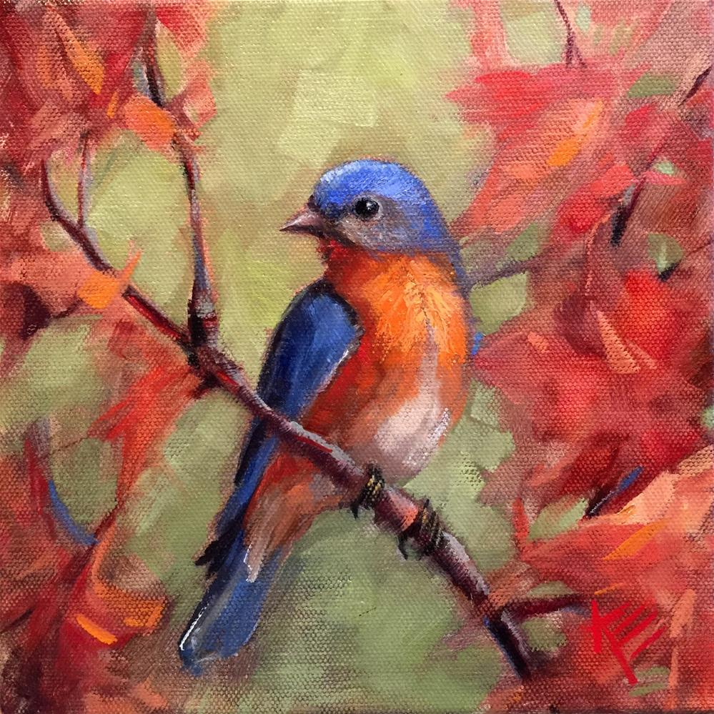 """Eastern Blue bird in Autumn"" original fine art by Krista Eaton"