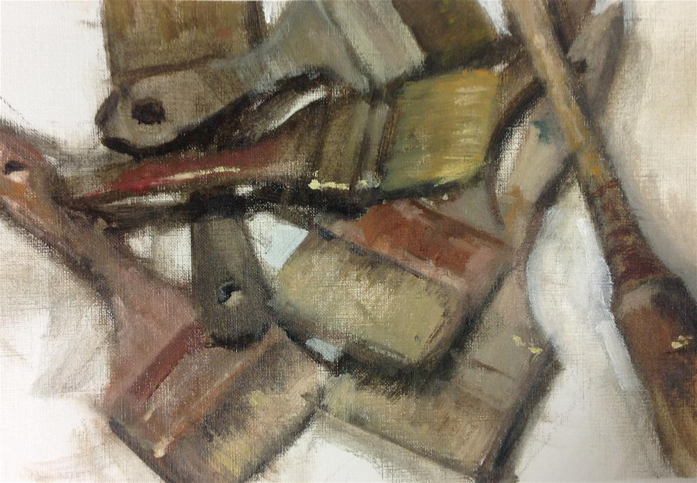 """Old brushes"" original fine art by Christine Bayle"