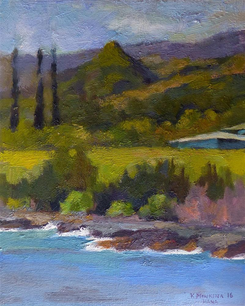 """pleinair#6 (View from Red Sand Beach, Hana, Maui)"" original fine art by Katya Minkina"