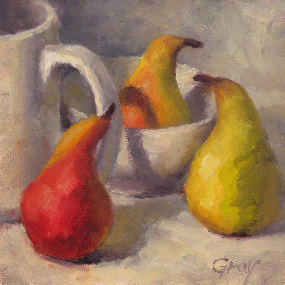 """Penguin Pears"" original fine art by Naomi Gray"