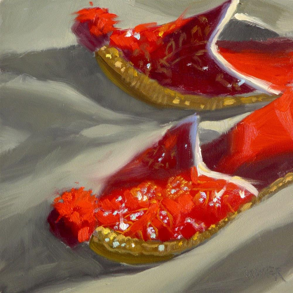 """Moroccan Slippers  6in x 6in  oil"" original fine art by Claudia Hammer"