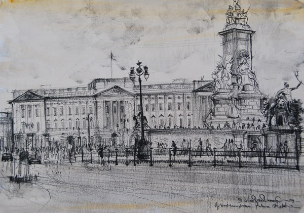 """Buckingham Palace Sketch"" original fine art by Adebanji Alade"