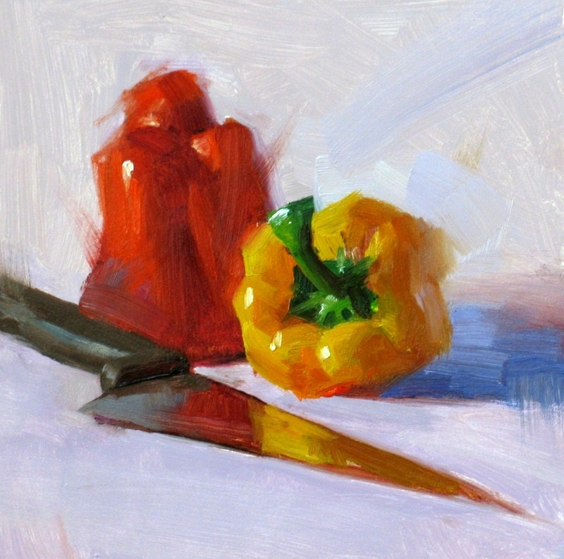 """Two Peppers"" original fine art by Qiang Huang"