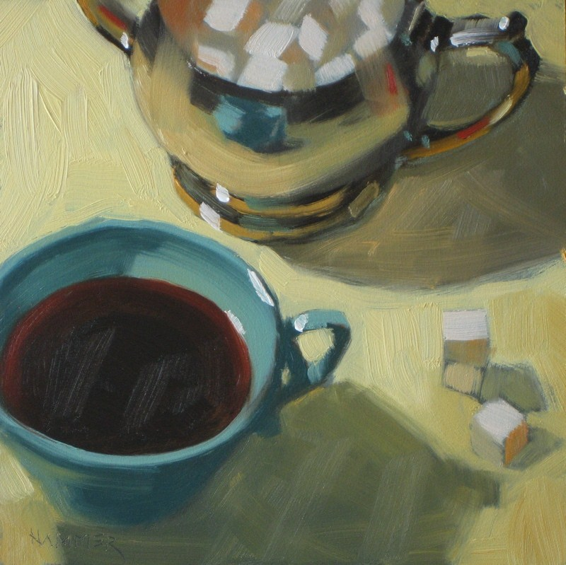 """Sweet black coffee 6x6 oil"" original fine art by Claudia Hammer"