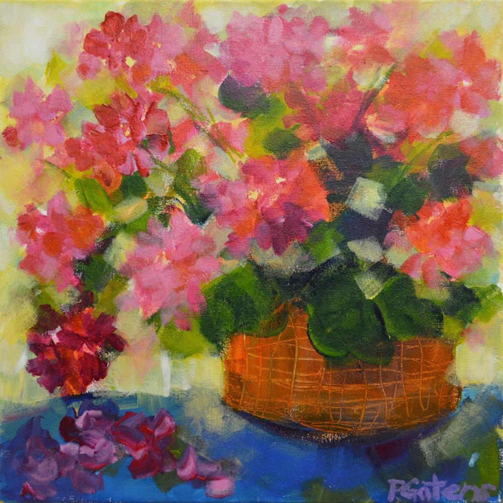 """Geranium Basket"" original fine art by Pamela Gatens"