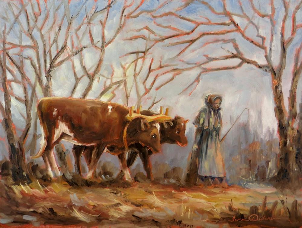 """Driving the Oxen"" original fine art by Tammie Dickerson"