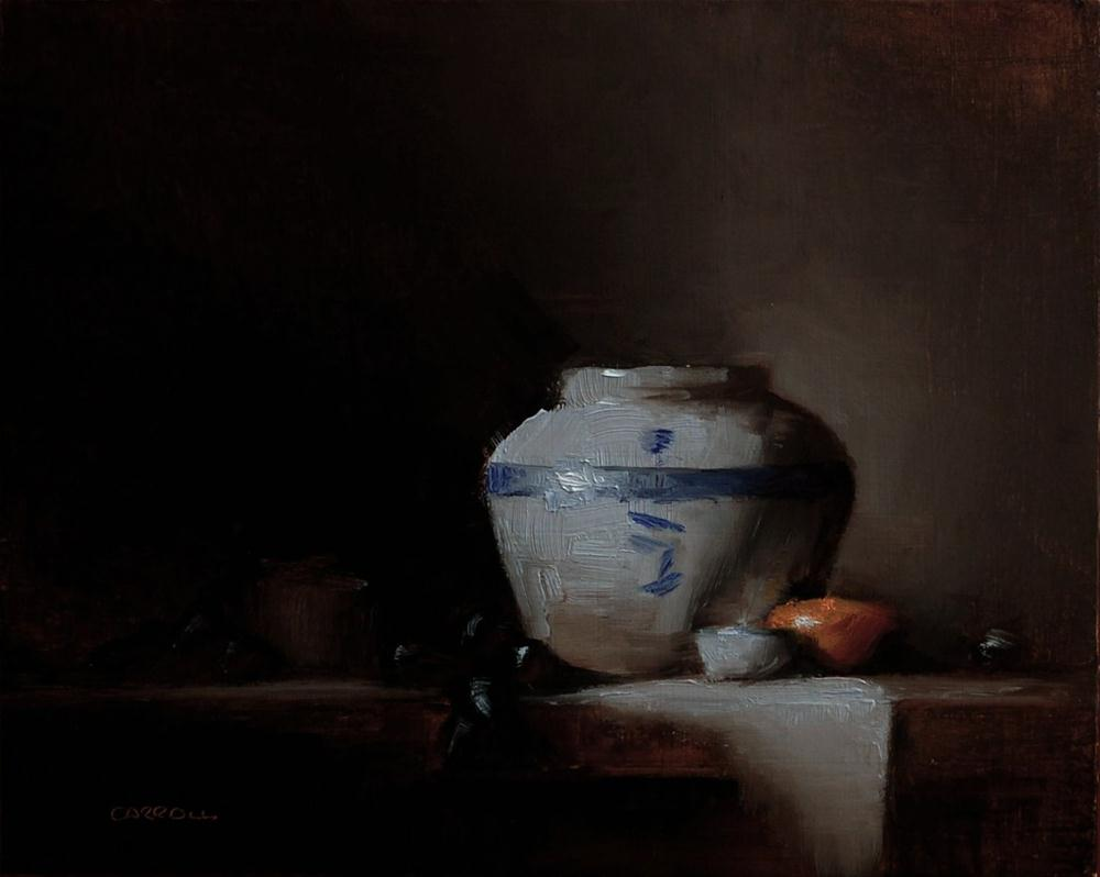 """Pot, Clementine and Grapes"" original fine art by Neil Carroll"