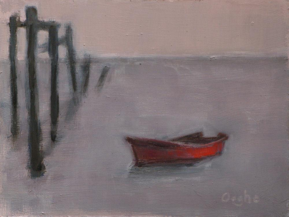 """Red Boat"" original fine art by Angela Ooghe"