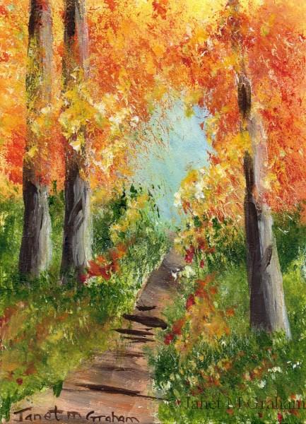 """Autumn Trail ACEO"" original fine art by Janet Graham"