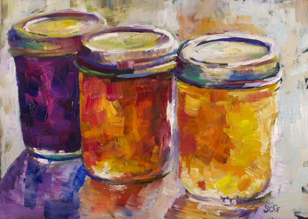 """Jam Jars Study #1"" original fine art by Sue Churchgrant"