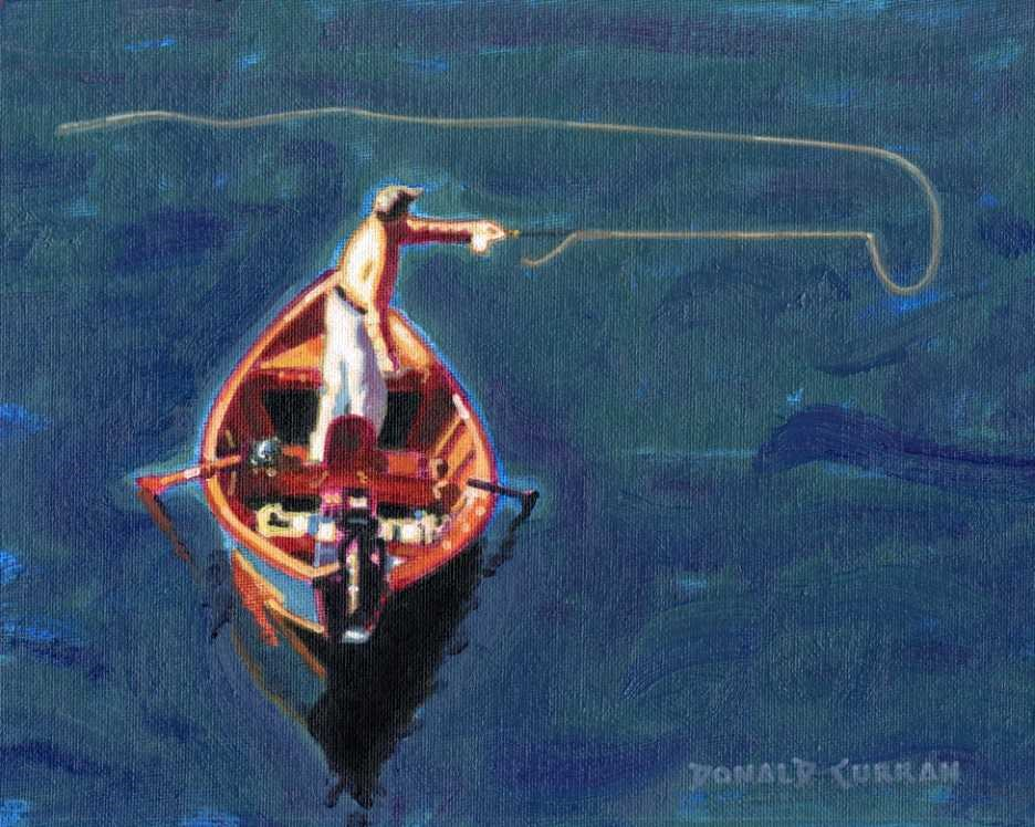 """""""Fly Fishing"""" original fine art by Donald Curran"""