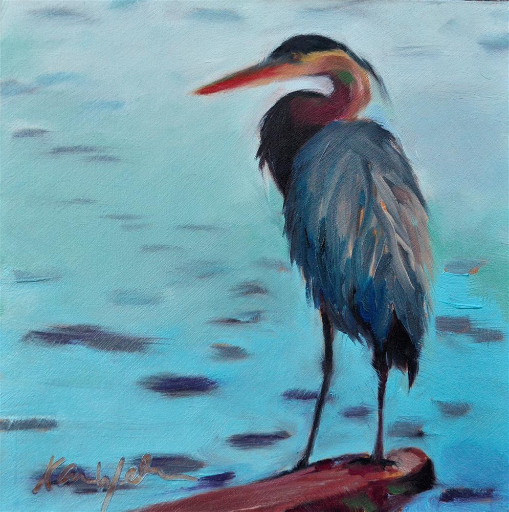 """""""Evening Crane"""" original fine art by Karen Weber"""