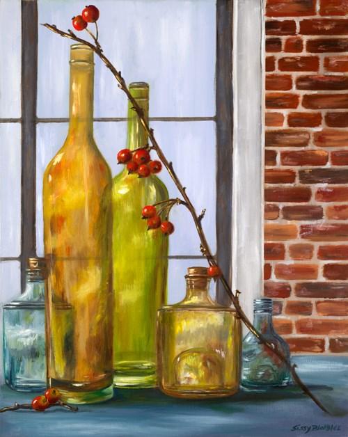 """Bottles and Crabapples"" original fine art by Sissy Blakslee"