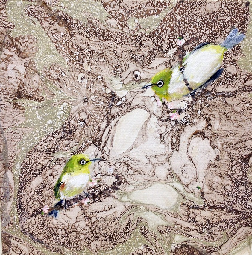 """Japanese White Eye Birds II"" original fine art by Sunny Avocado"