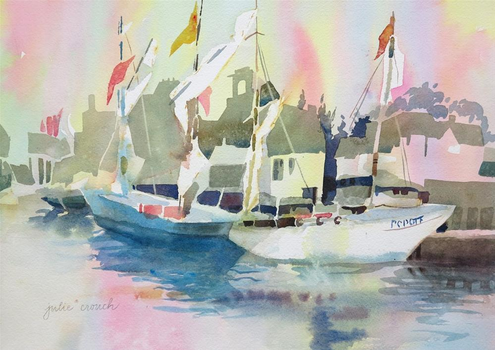 """Concarneau Harbor"" original fine art by Julie Crouch"