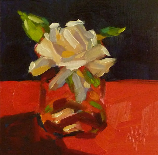 """Gardenia in Red 4x4 oil on board. Gardenias don't last long so I hustled and did two back to back."" original fine art by Mary Sheehan Winn"