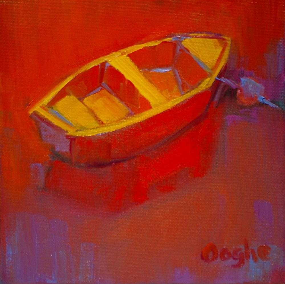 """Red Dinghy"" original fine art by Angela Ooghe"