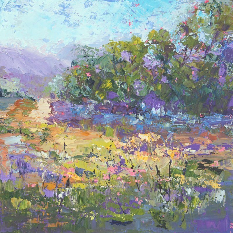 """Into the distance Impressionist Provence Landscape"" original fine art by Marion Hedger"