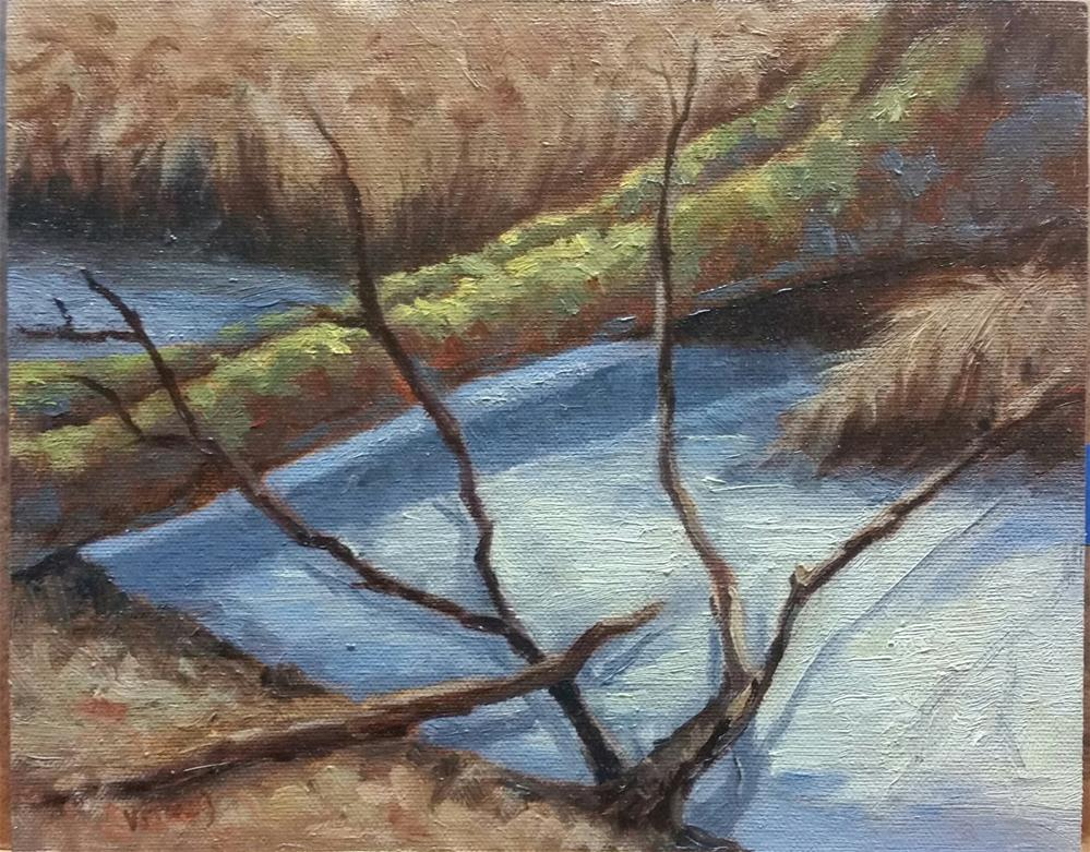 """Icy patterns-en plein air"" original fine art by Veronica Brown"