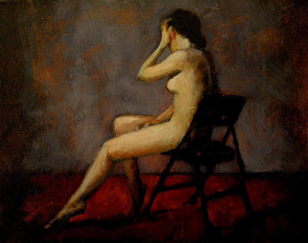 """Chair Pose 8x10 oil on canvas in darkwood frame"" original fine art by David Larson Evans"