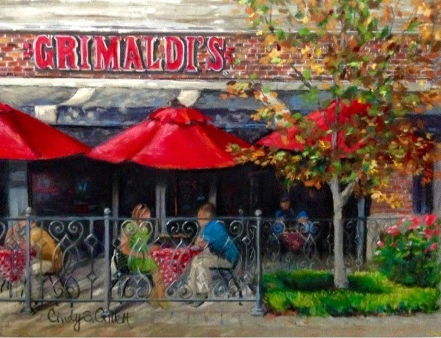 """The Village - Date Night at Grimaldi's"" original fine art by Cindy Gillett"