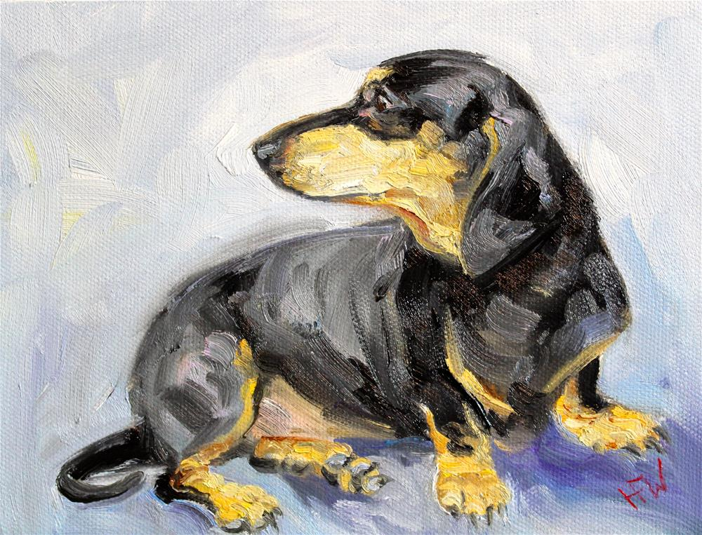 """Black and Tan Dachshund"" original fine art by H.F. Wallen"