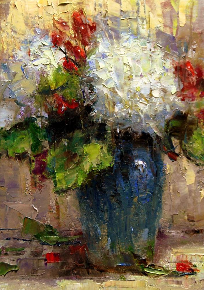 """Hydrangeas and Part Demo"" original fine art by Julie Ford Oliver"