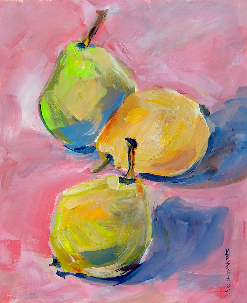 """3 Pears"" original fine art by Mary Schiros"