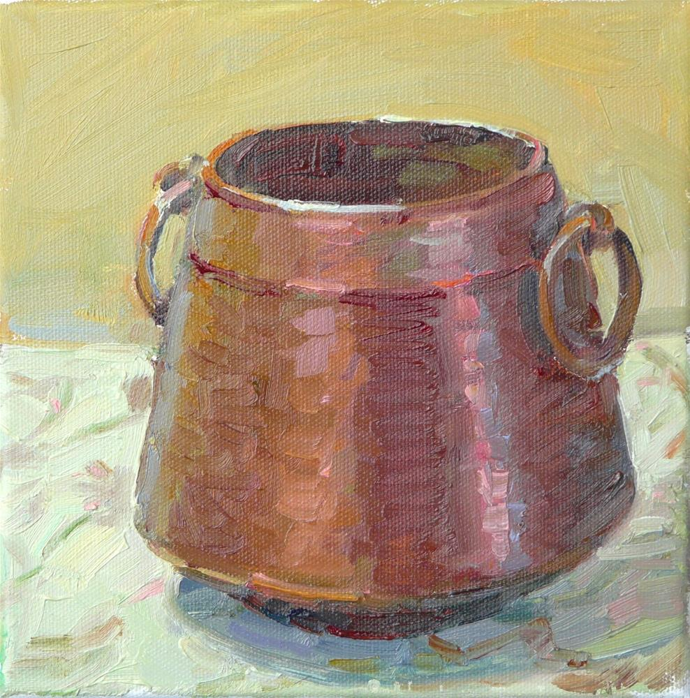 """Copper Pot,still life,oil on canvas,8x8,price$200"" original fine art by Joy Olney"