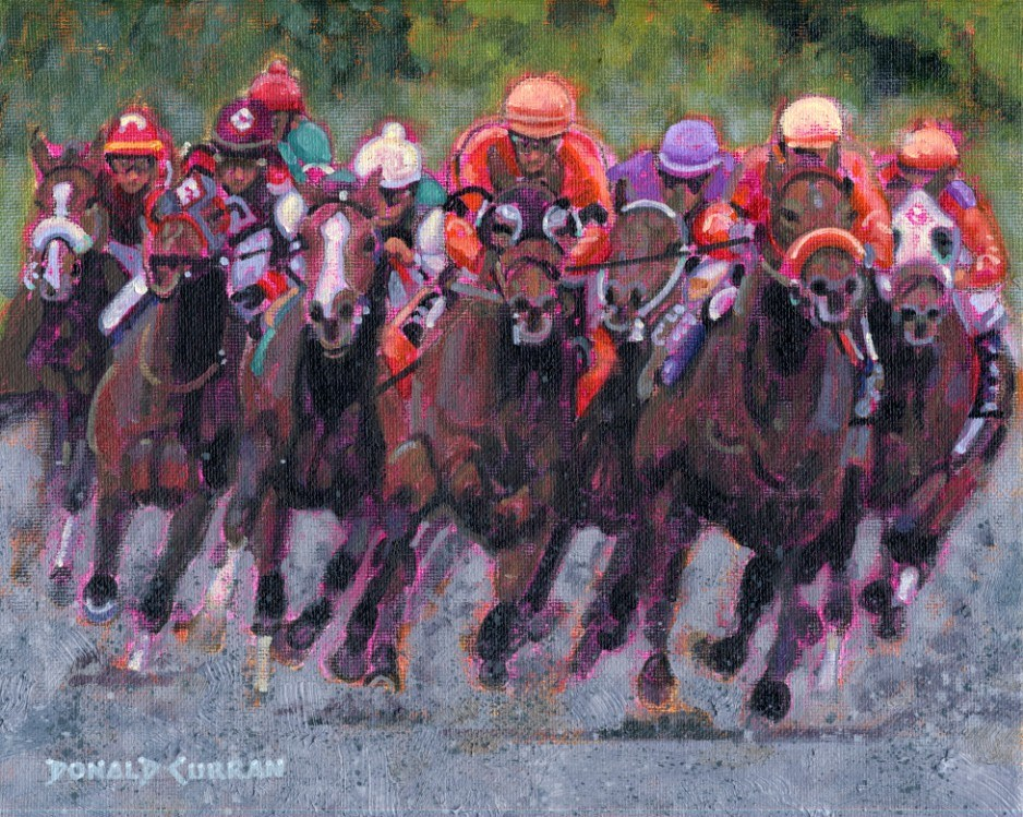 """Thunder Down the Stretch"" original fine art by Donald Curran"