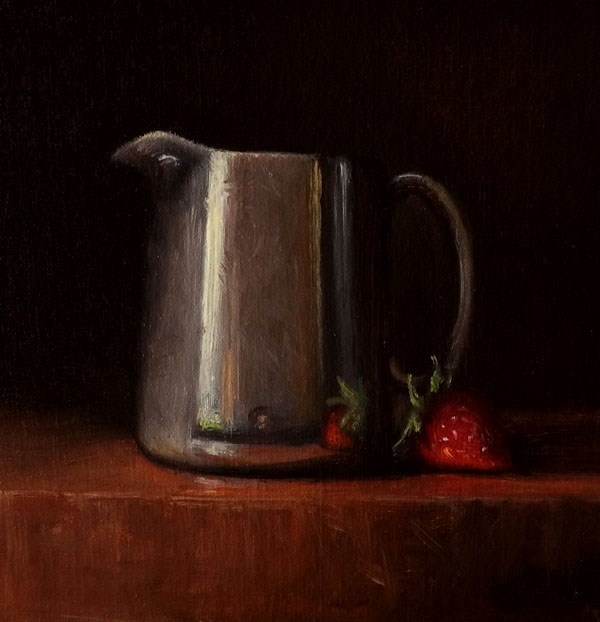 """""""Antique Sterling Creamer with Strawberry"""" original fine art by Darla McDowell"""