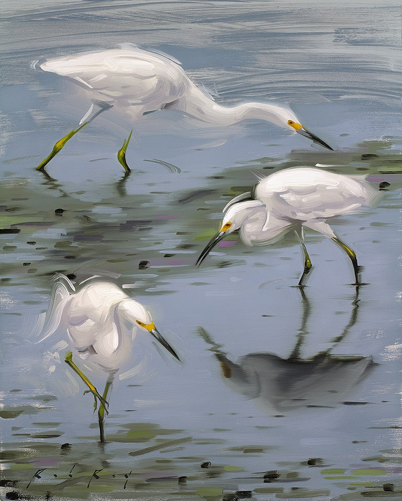 """Egrets at Low Tide"" original fine art by Rob  Rey"