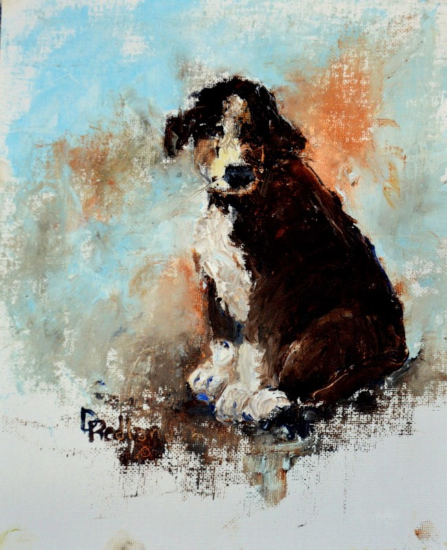 """Pallet knife puppy"" original fine art by Dorothy Redland"