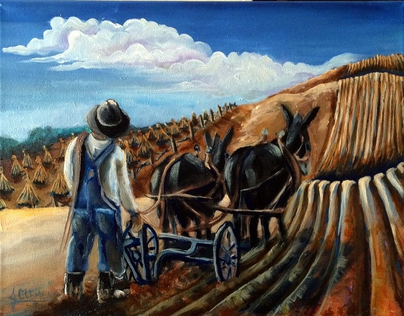 """Turning the soil 2"" original fine art by Jolynn Clemens"