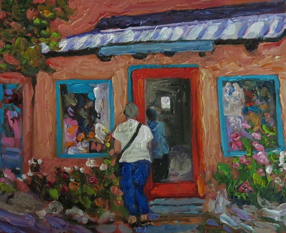 """SHOPPING IN SECO"" original fine art by Dee Sanchez"