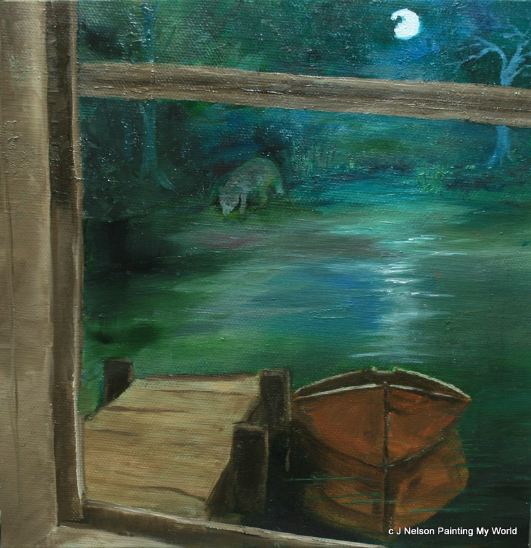"""Lake House Nocturne"" original fine art by Jean Nelson"