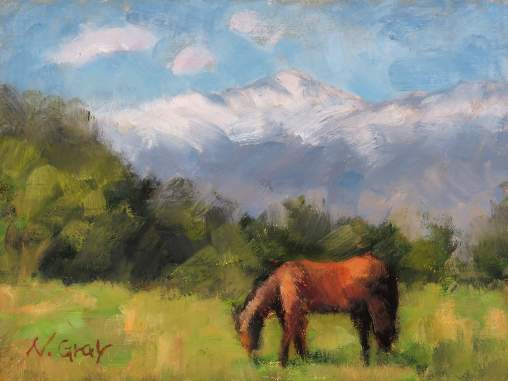 """Horse in front of White Mountain Peak"" original fine art by Naomi Gray"