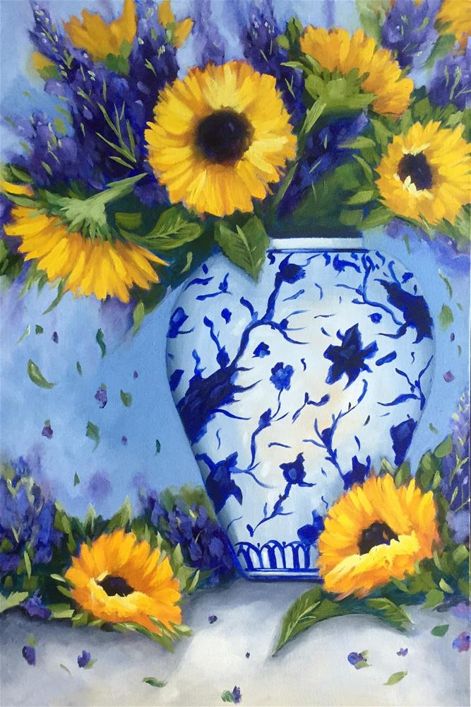 """Sunflowers in Blue and White Vase"" original fine art by Kim Peterson"