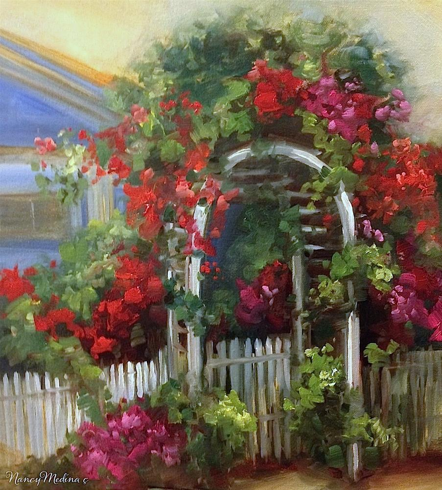 """Coronado Rose Arbor"" original fine art by Nancy Medina"