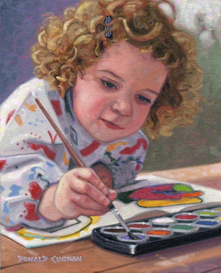 """The Little Artist"" original fine art by Donald Curran"