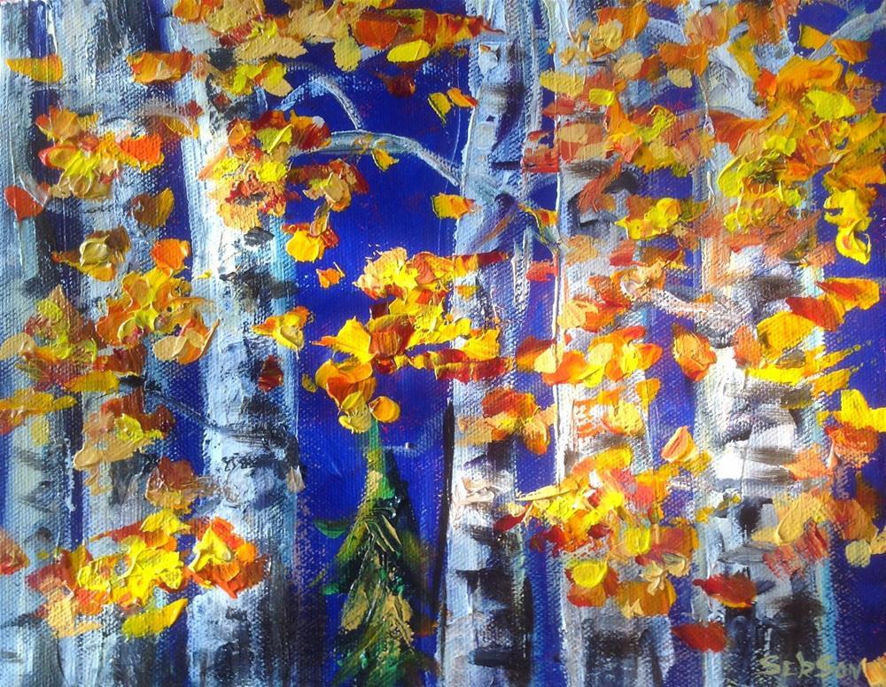 """""""Birch trees grove landscape painting"""" original fine art by Sonia von Walter"""