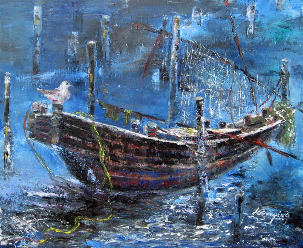"""An old boat in night"" original fine art by Wenqing Xu"