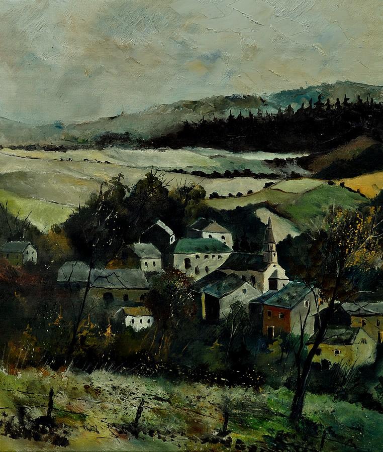 """""""Our Opont Village"""" original fine art by Pol Ledent"""