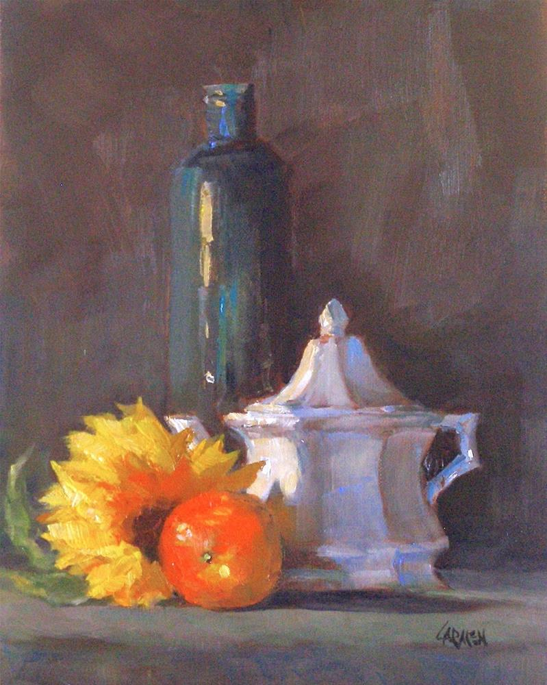 """Sunflower, 8x10 Oil on Canvas"" original fine art by Carmen Beecher"