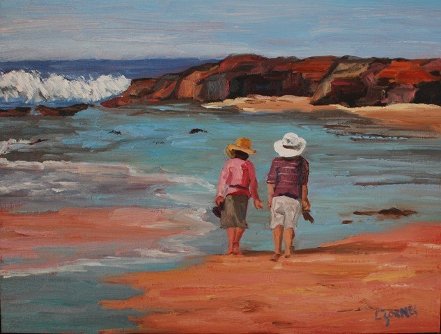 """Walk on the Beach"" original fine art by Liz Zornes"