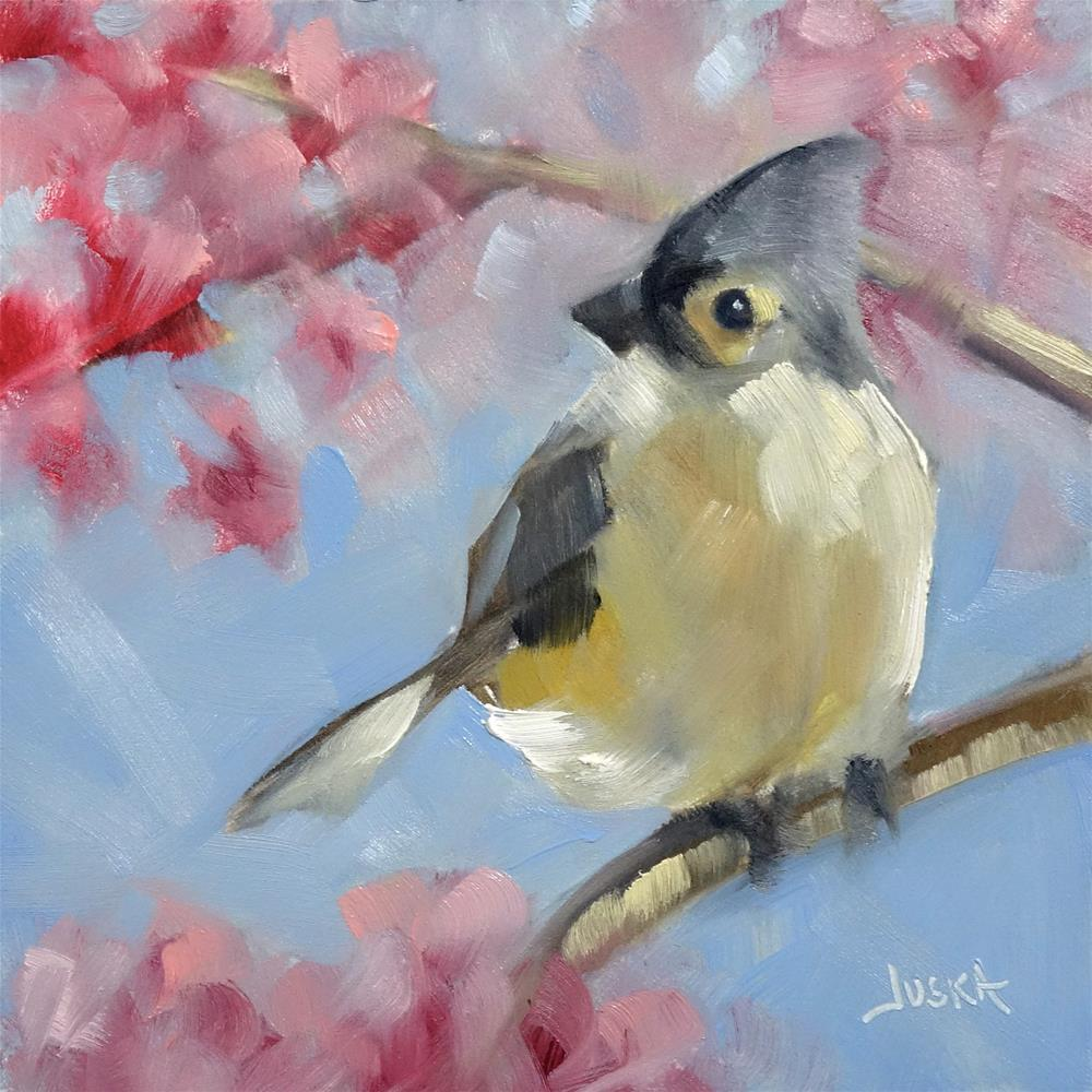 """Perched in a Cherry Tree"" original fine art by Elaine Juska Joseph"