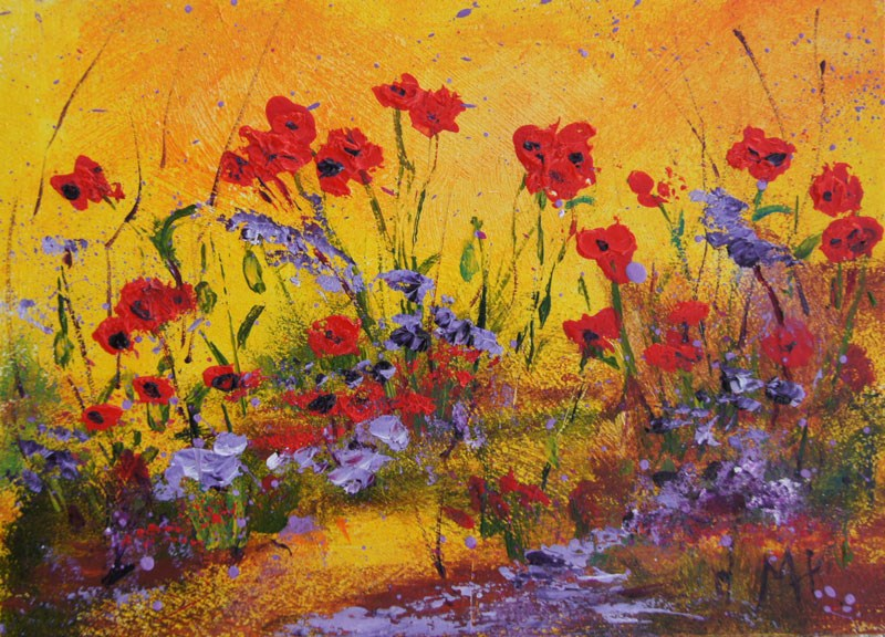 """Garden Poppies 2 miniature treasure acrylic painting"" original fine art by Marion Hedger"