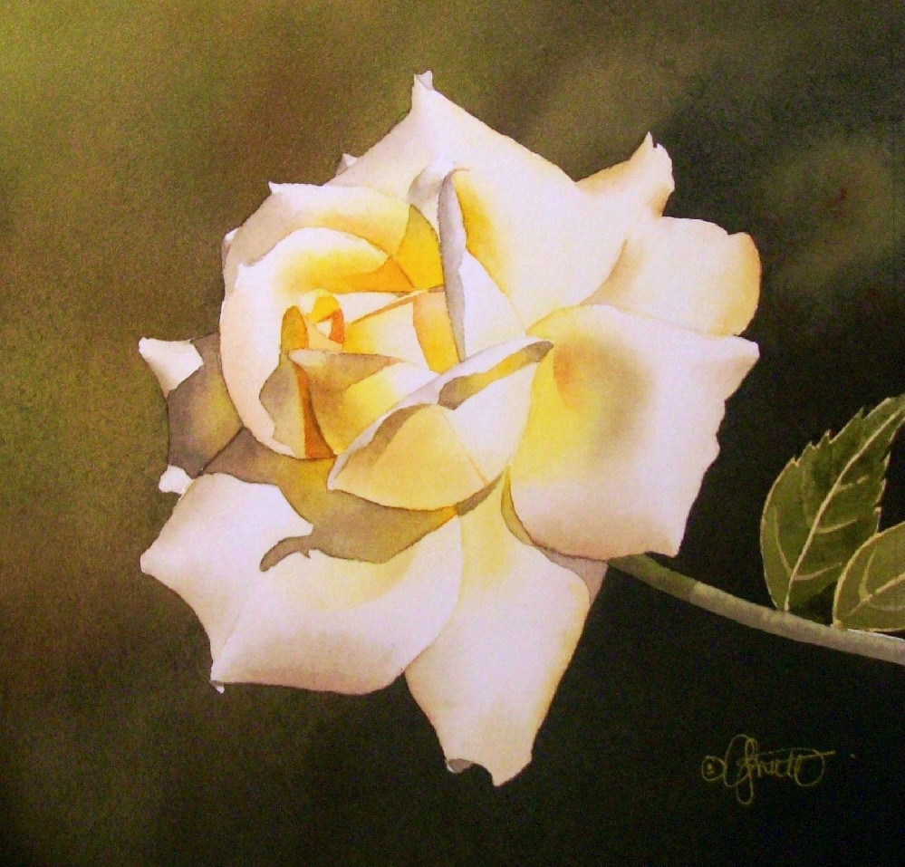 """Soft Yellow Rose"" original fine art by Jacqueline Gnott, whs"